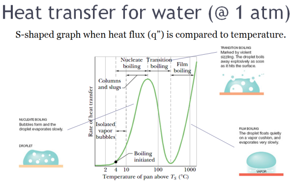 Heat transfer leading to Leidenfrost effect for water at 1 atm